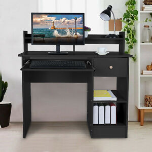 Wood Computer Desk With Drawers Shelf Pc Laptop Office Table Home Small Desk Bk