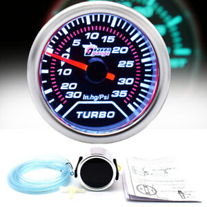 52mm Turbo Boost Gauge Mechanical Dial White Backlight Led Abs Car Meter Display