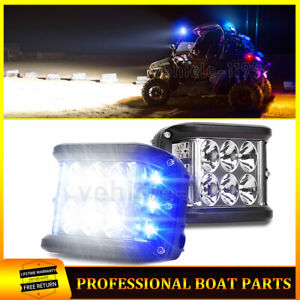 2x 4 Work Shooter Led Light Pod Truck Atv Roof White Blue Side Strobe Lights