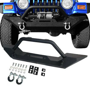 Textured Front Bumper W D rings Rock Crawler For 1987 2006 Jeep Wrangler Tj Yj