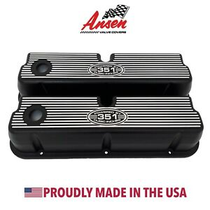 Ford 351w Tall Black Finned Valve Covers Engraved Powered By 351 Cubic Inches