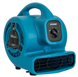 Xpower P 80a Mini Mighty Air Mover Utility Fan With Built in Power Outlets Blue