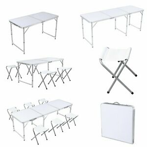4 6ft White Folding Table Portable Outdoor Garden Picnic Party Table Adjustable