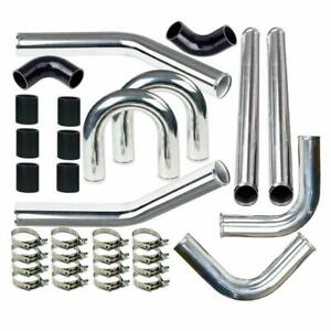 Universal 2 Inch Aluminum Intercooler Piping U pipe Kit coupler Black t clamps
