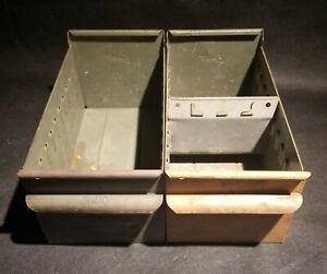 2 Pcs Vintage Equipto Usa Metal Drawers Industrial Duty Deep Lot Of 2