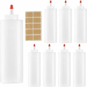 8 Pack 16oz Plastic Condiment Squeeze Bottles With Red Tip Caps And Labels