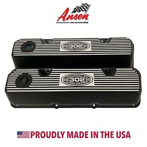 Ansen New Ford Boss 302 Valve Covers Black Powered By 302 Cubic Inches