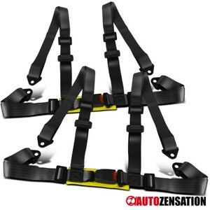 2pc Black 4 Point Racing Style Seat Belt Safety Harness 4pt