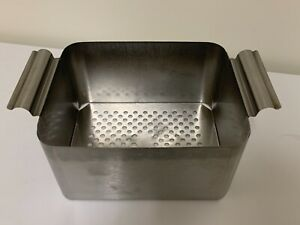 Dental Ultrasonic Cleaner Basket Stainless Steal W handles 8 5 X7x4 5 In