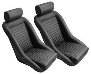 Retro Classic Vintage Racing Bucket Seats Black All Pvc W Sliders pair