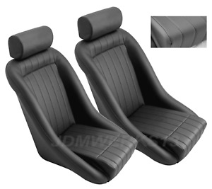 Retro Classic Vintage Racing Bucket Seats Black Perforated With Sliders Pair