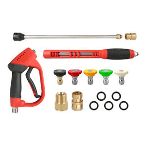 5000 Psi Sps High Pressure Washer Spray Gun Long Wand Car Cleaner 5 Pcs Nozzle