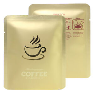 Bulk Matte Smell Proof Gold Open Top Pour Over Coffee Design Packaging Mylar Bag