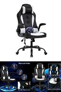 26 8 Inch Width Big Tall Black And White Mesh Gaming Chair W Tilt Control