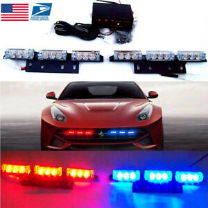 Blue red 18 Led Emergency Warning 3 Flashing Lights Car Auto Police Strobe Light