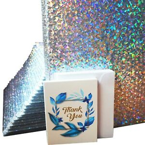 Holographic Bubble Mailers 10x13inch 25pcs Bundle With Thank You Cards Padded