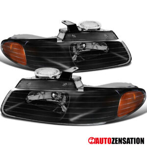 For 1996 2000 Dodge Grand Caravan Town Country Black Headlights Lamps 97 98 99