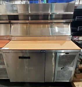 Randell 8148nm 4ft Pizza Prep Table W Overshelf And Undercounter Refrigerator