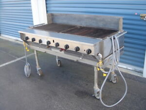 Magi Caterer Charbroiler With S s Stand On Casters Propane Gas Bbq Grill 60 Inch