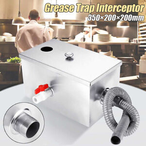 8lb Commercial Grease Trap Stainless Steel Interceptor Oil Water Separator