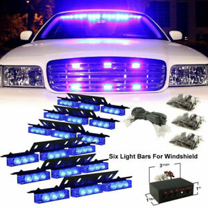 54led Car Pure Blue Police Strobe Flash Light Dash Emer gency Warning Lamp Kit