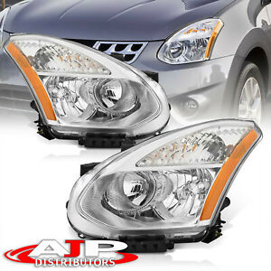 Chrome Amber Driving Halogen Head Lights Lamps Lh rh For 2008 2013 Nissan Rogue