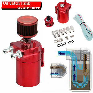 Red Aluminum Oil Catch Reservoir Breather Tank can W Filter Cylinder Engine Kit