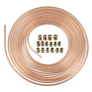 Copper Brake Line Tubing Kit 3 16 Od 25 Foot 25ft Coil Roll All Size Fittings