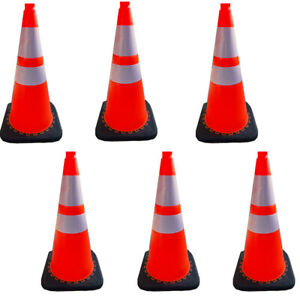 28 Parking Construction Traffic Safety Cones Reflective Collars Overlap 6 Pcs
