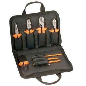 Electrical Tool Set Insulated Long Nose Cutting Pliers Screwdrivers Basic 9 Pc