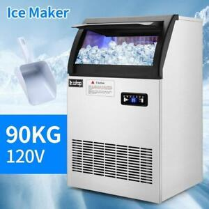 Zokop Commercial Ice Maker Machine 200lbs 24h Stainless Steel Under Counter Bar