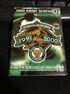 2000 Kane County Cougars Baseball Pocket Schedule Goose Verson Marlins Affiliate