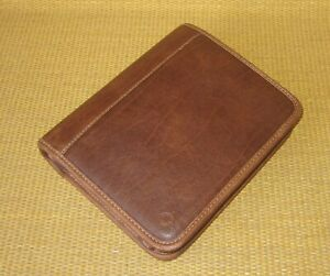 Compact Franklin Covey Brown Faux Leather 1 25 Rings Zip Planner binder