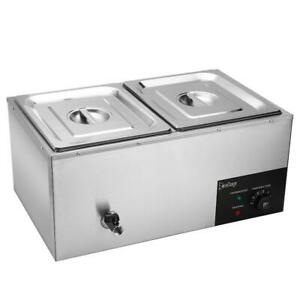 Commercial Food Warmer 2 pan Steamer Stainless Steel Buffet Electric Countertop