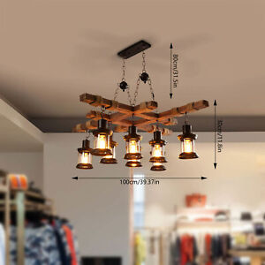 8 Lights Industrial Retro Wood Chandelier Hanging Ceiling Lamp Fixture Usa Fast