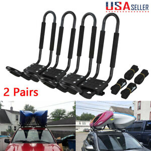 4x Kayak Roof Rack Canoe Carrier Top J bar Mounts For Suv Truck Van Car Rooftop