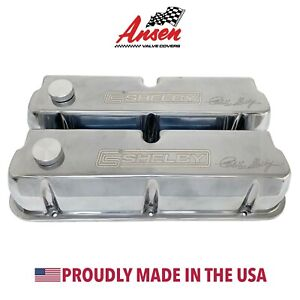 Ford Carroll Shelby Signature Tall Valve Covers Polished W Oil Caps Ansen Usa