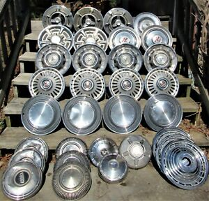 Large Lot Of Vintage Hub Caps Spinner Wheel Cover Dog Dish Mixed Makers Size Age