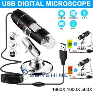 1600x 8led Usb Digital Microscope Endoscope 2mp Zoom Camera Magnifier With Stand