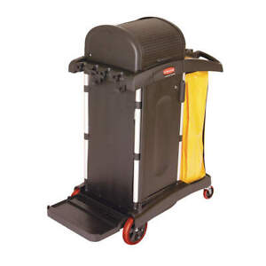 Rubbermaid Commercial Products Fg9t7500bla Microfiber Janitor Cart black plstc a