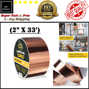 Copper Foil Tape With Conductive Adhesive For Guitar Emi Shielding 2 X 33