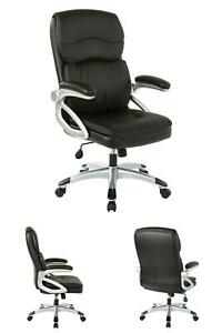Executive Managers High back Bonded Leather Chair W Silver Accents Black