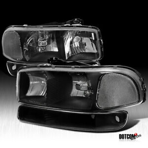 Fit 1999 2006 Gmc Sierra Yukon Xl Black Headlights Bumper Turn Signal Lamps