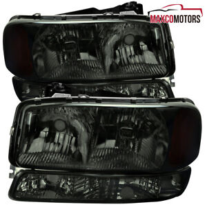 For 1999 2006 Gmc Sierra 1500 Yukon Xl 2500 Headlights W Bumper Lamps Smoke
