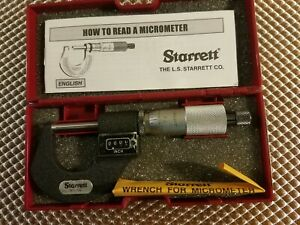 Starrett 216rl 1 Digital Outside Micrometer 0 1 Range Ratchet Stop Lock Nut