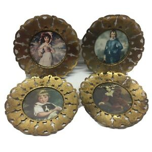 Vtg Pictures In Round 6 Butterfly Brass Frames Pinkie Blue Boy Girl Boy Wall Art