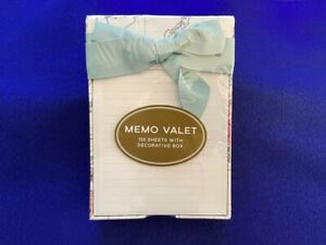 C R Gibson Markings Memo Valet With Decorative Box 150 Sheet Blue Ribbon Notes
