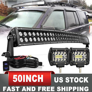 50 Curved Led Light Bar W 4 60w Wiring For 93 98 Jeep Grand Cherokee Zj 52