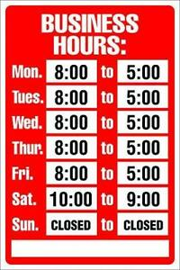 Cosco Sign Kit Business Hours 8 X 12 Inches 098071