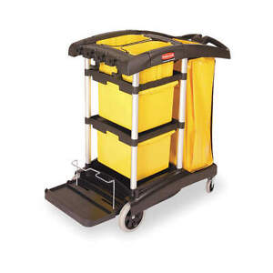 Rubbermaid Commercial Products Fg9t7300bla Microfiber Janitor Cart black plstc a
